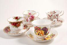 Lot 4 Vintage English Floral Teacups & Saucers ROYAL ALBERT Mad Hatter Tea Party #RoyalAlbert