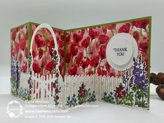 Build Your Own Scene with the Grace's Garden Bundle from Stampin' Up! One of the card's made at the Feb class. Z Cards, Pop Up Cards, Stampin Up Cards, Fancy Fold Cards, Folded Cards, Butterfly Template, Window Cards, Stamping Up, Homemade Cards
