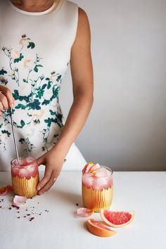 Peppered Rose -  Rose-Infused Vodka (Recipe), Grapefruit Juice, Tonic Water, Pink Peppercorn Simple Syrup (Recipe), Fresh Rose Petals for Garnish.