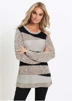 Gensere til dame - stort utvalg hos bonprix. Pullover, Outfit, The Selection, Sweaters, Dresses, Products, Fashion, Grey, Black