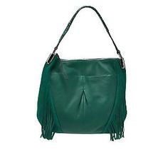 Combine boho and boutique chic with this gorgeous #Emerald B. Makowsky Pebble Leather Hobo with Fringe Detail. #ColoroftheYear