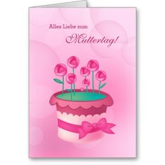Alles Liebe zum Muttertag. Roses in Pot Design Mother's Day Greeting Cards in German, at zazzle.com