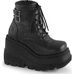 Demonia Shoes - SHAKER-52 Black Vegan Leather