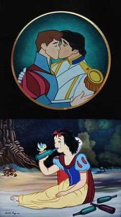 Fairy tales these days. The funny part is that neither of those princes are snow whites. Arte Disney, Disney Pixar, Disney Characters, Disney Princesses, Funny Memes, It's Funny, Secrets Disney, Humour Disney, Disney Secrets