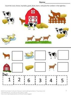 Free Farm Math Worksheets by smalltowngiggles Farm Activities, Kids Learning Activities, Educational Activities, Farm Animal Crafts, Farm Animals, Free Preschool, Kindergarten Worksheets, Farm Lessons, Farm Unit