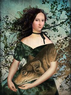 Portrait with a Wolf Art Print by Catrin Welz-Stein - X-Small Surrealism Painting, Pop Surrealism, 7 Arts, Illustrations, Illustration Art, Lowbrow Art, Visionary Art, Whimsical Art, Surreal Art