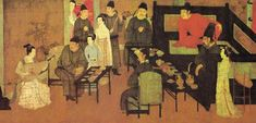 """Han Xizai Gives A Night Banquet"" is a scroll drawn by Gu Hongzhong, a painter in the Five Dynasties and Ten Kingdoms period (907-960). The main character Han Xizai in the painting was a high official in Southern Tang, but later attracted suspicion from the Emperor Li Yu. To protect himself, Han pretended to withdraw from politics and become addicted to a befuddled life full of entertainment. Li sent Gu from the Imperial Academy to record Han's private life, which led to this painting."