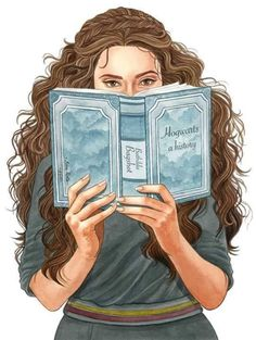 Image result for hermione granger reading drawing