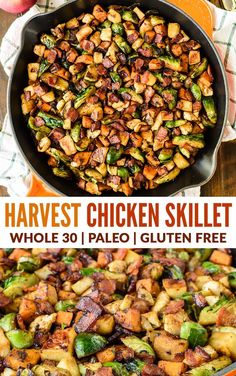 Harvest Chicken Apple Sweet Potato Skillet with Bacon and Brussels Sprouts. A healthy one-pan dinner with all of your favorite fall ingredients! wellplated paleo onepan via 431853051769397948 Fall Dinner Recipes, Healthy Dinner Recipes, Bacon Dinner Recipes, Healthy Dinner For One, Healthy Dinners For Two, Fall Meals, Healty Dinner, Delicious Breakfast Recipes, Pizza Recipes