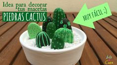 How to make painted stones cactus Rock Painting Ideas Easy, Rock Painting Designs, Painting Videos, Painting Lessons, Cactus Art, Cactus Plants, Stone Cactus, Painted Rocks Kids, Painted Stones