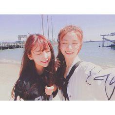 Raina y Kaeun de after school Kpop Girl Groups, Kpop Girls, Call Orange, Park Sooyoung, Pledis Entertainment, After School, Red And Blue, Rapper, First Love
