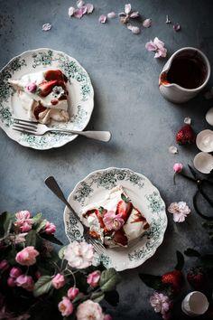 Rosewater Cream Pavlova Roasted Strawberry Vanilla Bean Sauce - The Kitchen McCabe