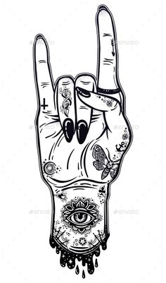 Buy Raised Inked Hand as a Rock and Roll Sign Gesture by itskatjas on GraphicRiver. Raised inked hand as a rock and roll or punk sign gesture with black nails. Rock Tattoo, Rock And Roll Tattoo, Rock And Roll Sign, Rock Roll, Rock Sign, Rock Hand Sign, Rock And Rool, Trippy Drawings, Art Drawings Sketches