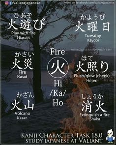 Words with the character for fire. -- Japan, Japanese words, vocabulary, learning different languages, infographic, kanji