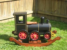 Lloyd, The Locomotive Wooden Rocker. I kind of feel it was remiss of this shop not to have referred to this as a rocking iron horse. (but maybe I am too fond of the groan-worthy) All of these guys' rockers are awesome but big bucks. Diy Furniture Projects, Diy Wood Projects, Kids Furniture, Wood Crafts, Woodworking Projects That Sell, Woodworking Workshop, Diy Woodworking, Wooden Rocker, Wood Craft Patterns