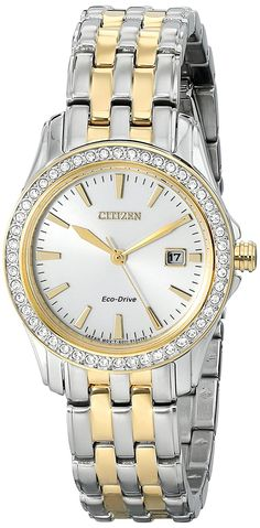 Citizen Eco-Drive Women's EW1908-59A Silhouette Crystal Analog Display Two Tone Watch *** Read more  at the image link.