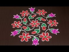 creative lotus rangoli designs with out dots & with colors - simple kolam designs - muggulu designs Rangoli Designs Latest, Rangoli Designs Flower, Rangoli Border Designs, Small Rangoli Design, Rangoli Patterns, Rangoli Ideas, Rangoli Designs Diwali, Rangoli Designs Images, Rangoli Designs With Dots