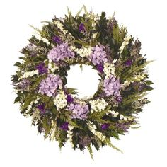 """Lovely Lavender Premium Dried Floral Wreath- (22""""). Find artificial flowers and christmas trees at Target.com! This arrangement features preserved lavender hydrangea that is soft to touch and will hold its color, white larkspur, preserved green myrtle and baby fern - arranged beautifully on a natural twig base. Freshly made upon receipt of the order; generally ships within 4 business days.. Price: $99.99"""