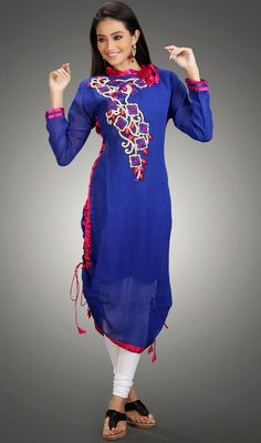 Get a dazzling look dressed in this blue embroidered georgette kurti. The floral patch and lace work appears chic and excellent for any function. #LatestClassicalKurtis