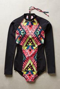 Mara Hoffman Surf Suit Black Pattern Swimwear - would love this for a honeymoon in Bali!