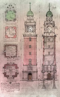 Torre de los Ingleses (1909), AGNArgentina Monumental Architecture, Neoclassical Architecture, Vintage Architecture, Architecture Drawings, Historical Architecture, Architecture Details, Byzantine Architecture, Building Drawing, Building Sketch
