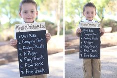 Keep track of those cute Christmas wish lists with this fun personalized chalkboard Christmas list photo prop sign. What a fun way to watch your kid's likes change from year to year.