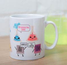 Cute science mug ideal for scientists and coffee lovers. Gift