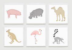 Hand illustrated animal nursery art prints.  Hang alone or make a wall collage. Choose from a pig, fox, deer, flamingo, hippo and more! alleykids.com #animal #nurseryart
