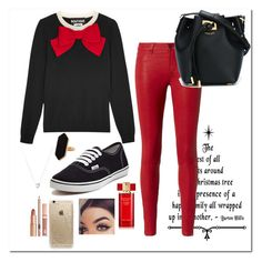 """""""red & black"""" by emilyxcourtney ❤ liked on Polyvore featuring Boutique Moschino, L'Agence, Vans, Estée Lauder, Rifle Paper Co, Michael Kors, Jaeger, Links of London and Dolce Vita"""