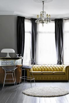 london home - yellow chesterfield