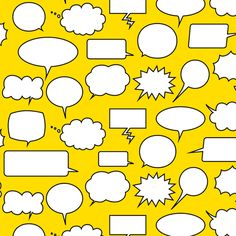 Comic Adventures: Speech Balloons on yellow by jazzypatterns, click to purchase fabric