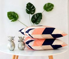 Beautiful peach and navy geometric cushion cover by CitraHome