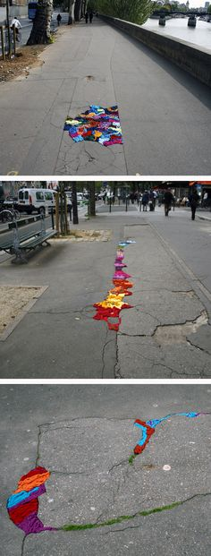 an artist in paris, france decided to knit sidewalk cracks together, knit sweaters for trees, & some other stuff... how cute!