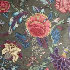 Vintage Clarence House Floral Linen Fabric- Per Yard