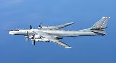 A Russian Tupolev Tu-95 Bear 'H' photographed from a RAF Typhoon Quick Reaction Alert aircraft (QRA) with 6 Squadron from RAF Leuchars in Scotland.