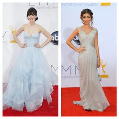 zooey deschanel and sarah hyland at the Emmys 2012.  Beautiful gowns, could translate into bridal!