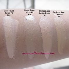 BB Cream and CC Cream Swatches