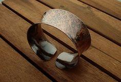 Copper cuff textured cuff anticlastic rustic by JewelryByGaladryl