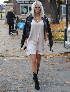 Dare to bare! Chloe Sims ensured she stood out from the crowd as she made the daring choice to rock underwear as outerwear on the set of TOWIE at Luxe nightclub in Loughton, Essex, on Sunday