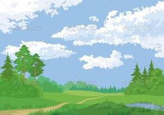 Landscape: summer green forest and blue sky Vector EPS 8 plus AI CS 5 plus high-quality Jpeg. Editable vector file, containing on