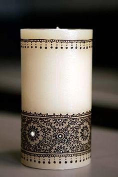 Candles made with henna designs for a Hot Stuff story. By Ravie Kattaura of Fremont. Jim Merithew/The Chronicle Photo: Jim Merithew Henna Candles, Diy Candles, Pillar Candles, Candle Art, Candle Lanterns, Ramadan, Candlemaking, Beautiful Candles, Henna Art