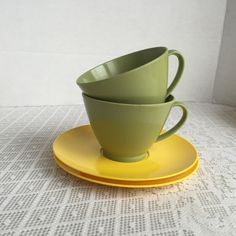 Vintage Green and Yellow Melamine Mismatched Teacups and Saucers by Royalon Melmac by vintagepoetic on Etsy
