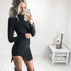 Seeee.. Black!  @nouveauricheboutique  can't resist a long sleeve mini no matter what colour  Details: Xenia Dress Black