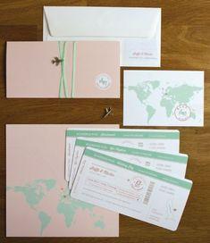 wedding invitation boarding pass / hochzeitseinladung flugticket