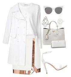 """""""All White"""" by littledeath11 ❤ liked on Polyvore featuring moda, Zara, Michael Kors, T By Alexander Wang, Thierry Mugler, Vince Camuto, Prada, Kate Spade y Blanc & Eclare"""