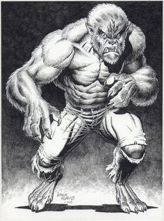 Wolfman or Werewolf By Night by Arthur Adams Comic Book Artists, Comic Book Characters, Comic Artist, Comic Books Art, Character Art, Character Design, Werewolf Art, Vampires And Werewolves, Bristol Board