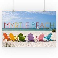 Myrtle Beach, South Carolina - Colorful Beach Chairs - Lantern Press Photography (16x24 Giclee Gallery Print, Wall Decor Travel Poster), Multi
