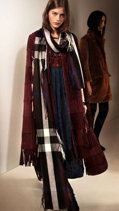 Burberry Prorsum - LONG FRINGE SCARF IN CHECK CASHMERE is definitely a must. #fw15 #lfw