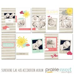 Sunshine Gal 4x8 Accordion Album by Prairie Sweet Boutique | Photoshop Templates for Photographers