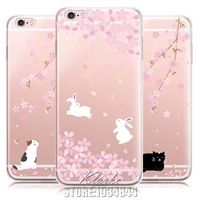 Cute Rabbit Romantic Cherry Blossoms Case Cover For iphone 5 5s SE 6 6s Plus Transparent Silicone Cell Phone Cases
